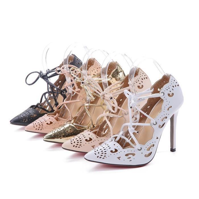 Femmes Mode sexy personnalité creuse fine avec Brochage Chaussures à talons hauts Chaussures de mariage,rose,35