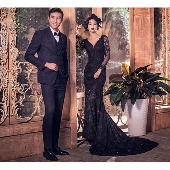 a4adb4f113d7 2017 nouveau noir queue de poisson photographie portrait à manches longues  robe de mariage robe de soirée Noir Noir - Achat   Vente robe de cérémonie  - ...