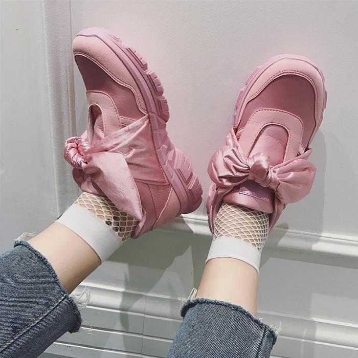 Rihanna Style Chaussures de course Ribbons Chaussures de soie Chaussures respirantes Chaussures décontractées
