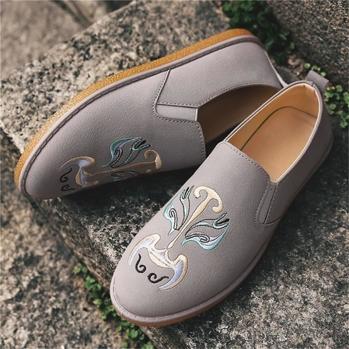 chaussures multisport Mixte Types de style chinois de maquillage du visage En Operas Broderie plates Casual noir taille8.5