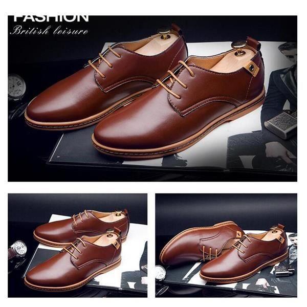 Mode Hommes d'affaires Chaussures en cuir plates Casual Mocassins richelieu Lace Up Multi Size (EUR 40-48)noir39,noir39