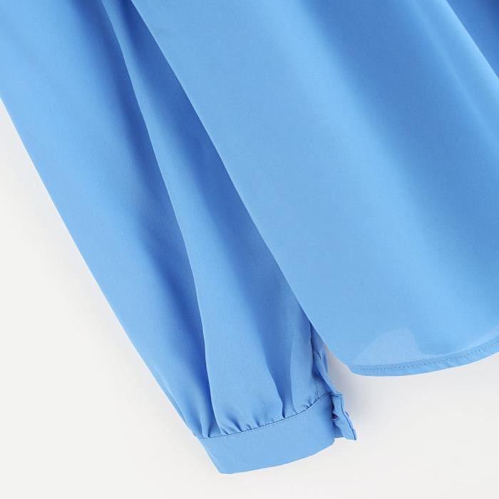Napoulen®mode Femme été Loisirs manches longues chemise Loose Tops chemisier Bleu clair XYM71214902LB