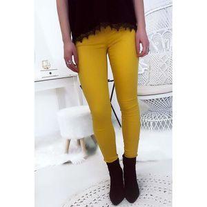 Miss Wear Line - Pantalon jeans slim moutarde avec poche avant et arrière ebff1c534f2d