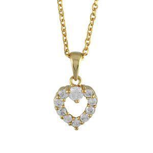 Collier plaqué or chaine forcat pendentif coeur pi