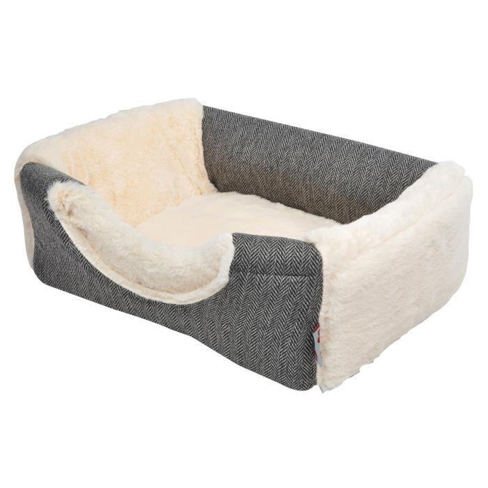 AMI CONFORT Panier effet laine 2 en 1 - 40x30x30 cm - Blanc et gris - Pour chien