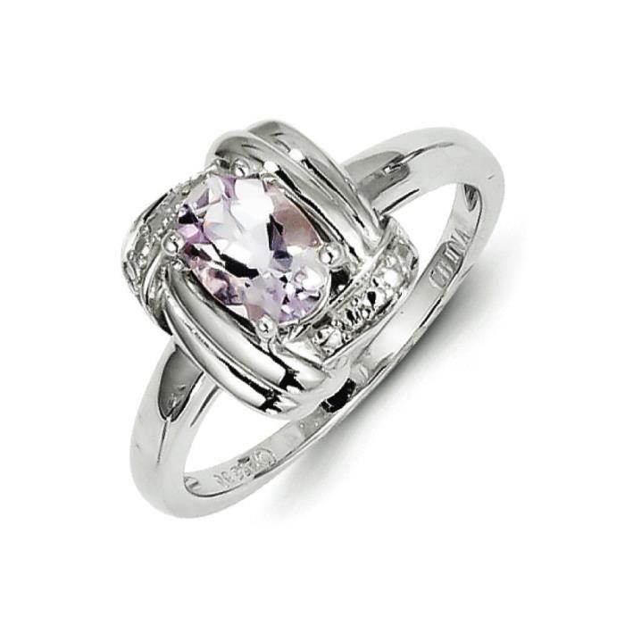 Argent Sterling diamant et Quartz rose-Taille 1/2–N
