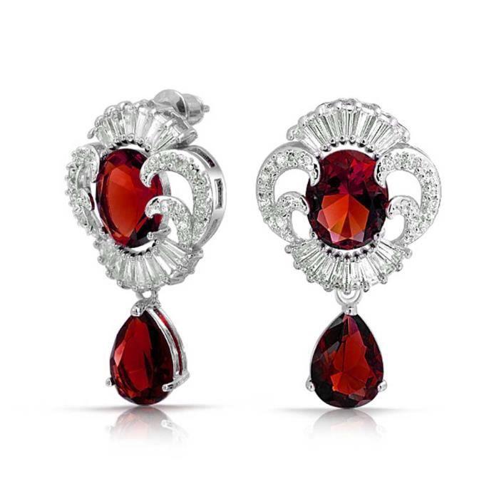 Brink style Vintage Ruby simulées CZ pendants doreille plaquée Rhodium
