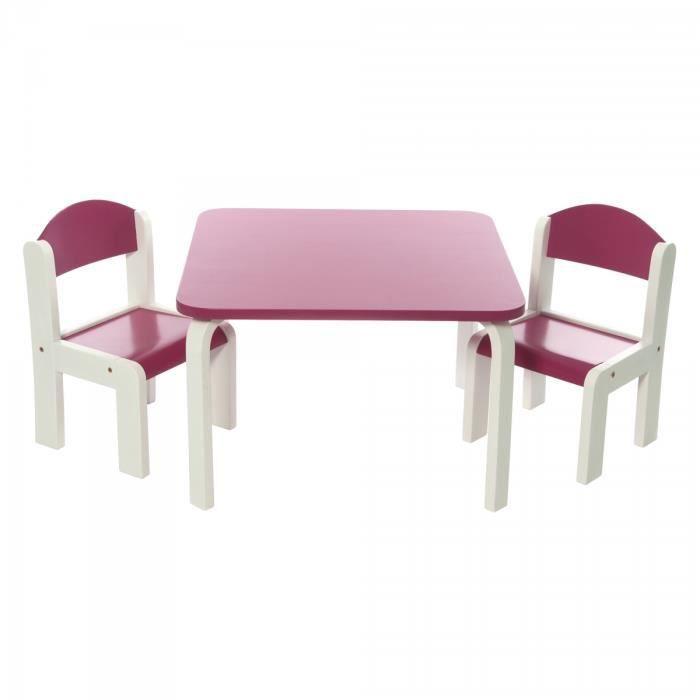 Ensemble table et deux chaises en bois pour enfants design fabio fuchsia achat vente table for Tables et chaises pour enfants