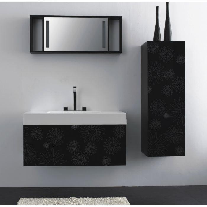 Meuble de salle de bain MS-D100 noir avec impri… - Achat / Vente ...