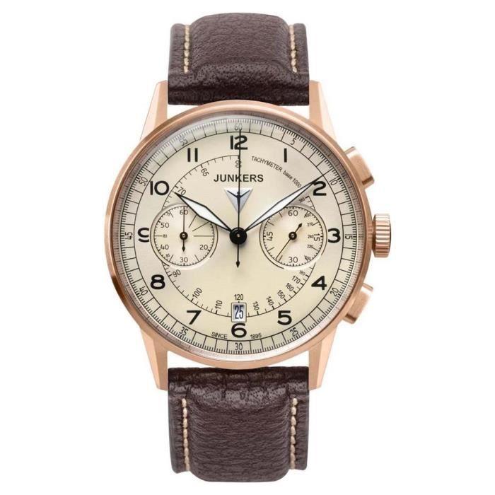 Chronographe 69721 Junkers Montre Homme Quartz Bracelet Cuir Marron CxBQderWo
