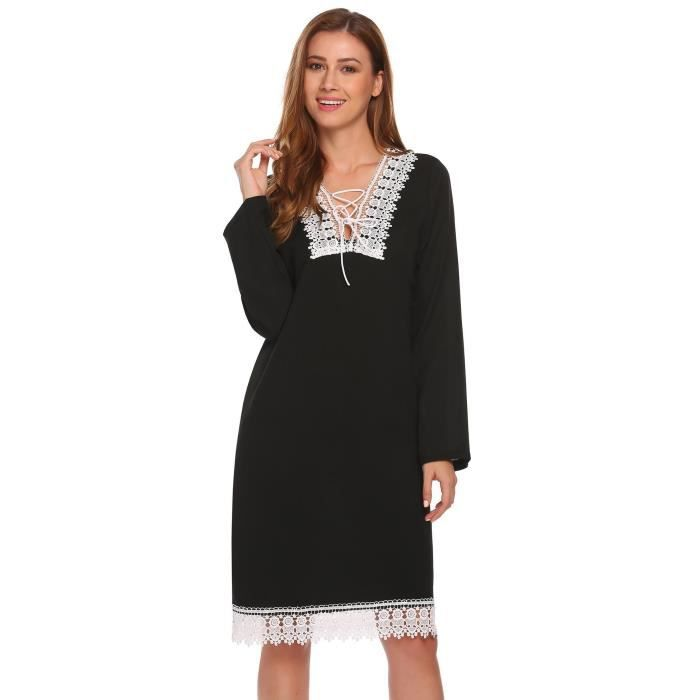 Chiffon Robe Femmes Casual Tie Bow Cou Longue Manche Loose Lace Patchwork