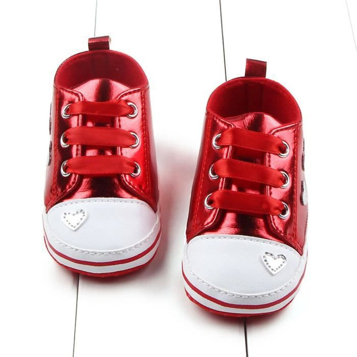 73e6b4b2fb792 Bébé fille Soft semelle chaussures Chaussure de sport rouge Rouge ...