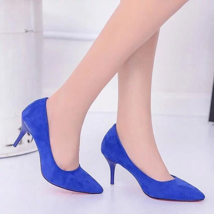 Napoulen®Mode sandales nue peu profonde bouche élégante talons hauts pour femmes Bleu-XPP71221532BU