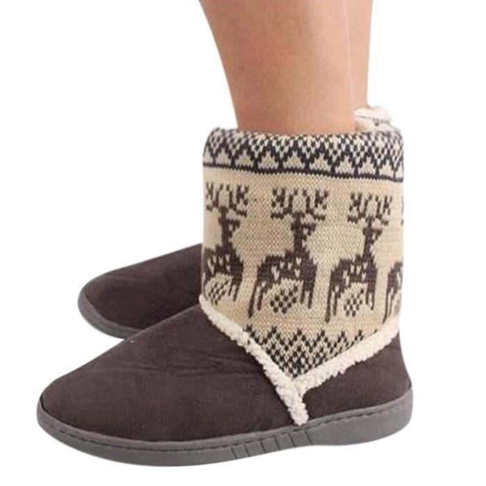 Bottines Femmes Deer Snow Boots hiver Coton-rembourré Chaussures BMMJ-XZ033Gris37 WTR044Qdm
