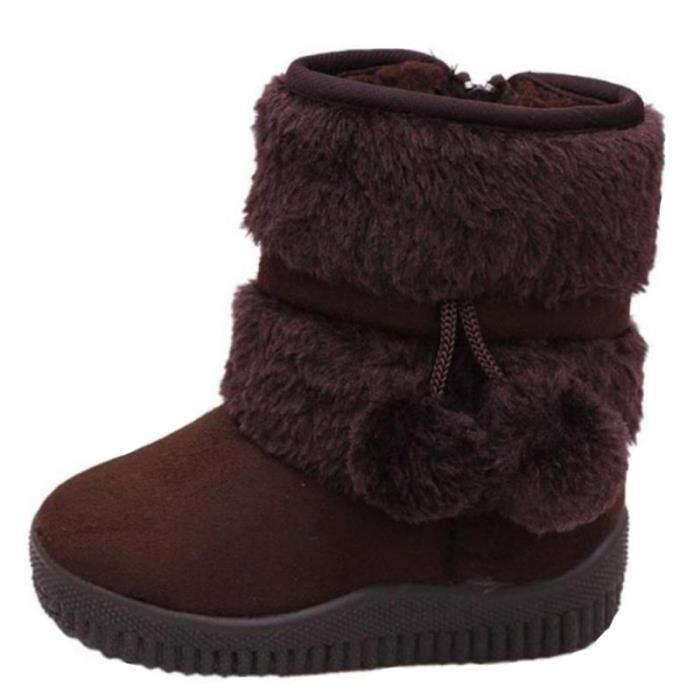 Hiver Bottes Enfants En Peluche Chaussures Filles Garçon Bottines BTYS-XZ095Marron32 8vj4AtnU