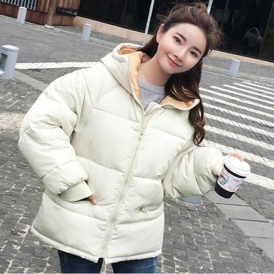 En Exquisgift Rembourré Hiver Capuchon Femmes Blanc Veste Manteau Survêtement Coton À Les Chaud qAZUCqWwa