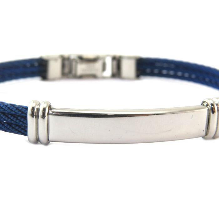 Bracelet acier Peaceful bleu argenté (personnalisable) [P5628]