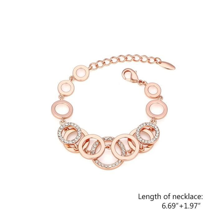 Womens Rose Gold Two Layered Crystal Accented Rings Link Bracelet,8.66 RJ1RL