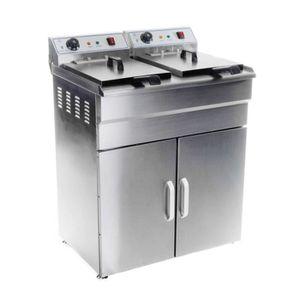 FRITEUSE ELECTRIQUE Friteuse haute acier inox 2 bac 16 litres cuve amo