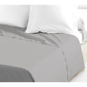 DRAP PLAT LOVELY HOME Drap Plat 100% coton 180x290 cm gris c
