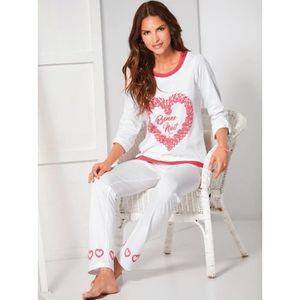 PYJAMA Pyjama 2 pièces coeurs imprimés floqués femme