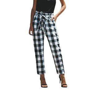 styles classiques Royaume-Uni bien connu Femmes Sexy Taille Haute Treillis Mode Large Décontracté Leg Summer Beach  Pantalon #rw3967
