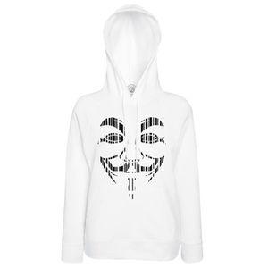 T-SHIRT Hoodies Sweat à Capuche Visage Anonymous Noir Stri 8b3c658dc009