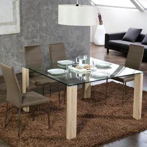 Table A Manger Verre Et Bois Achat Vente Pas Cher