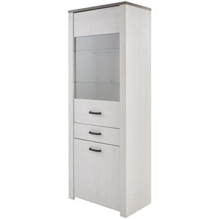 En panneaux de particules blanc, décor pin, décor chêne - L74,8xP42,3xH194 cm - 2 portes, 1 tiroir, 2 nichesVITRINE - ARGENTIER - VAISSELIER