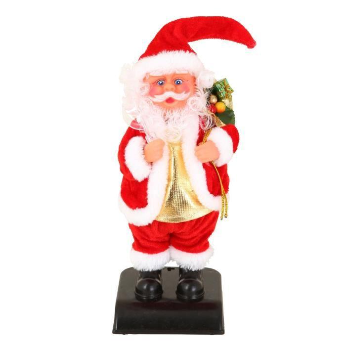 Personnage de Noël : Père Noël Jingle bells en plastique et polyester - H 28 cm - Rouge et blanc