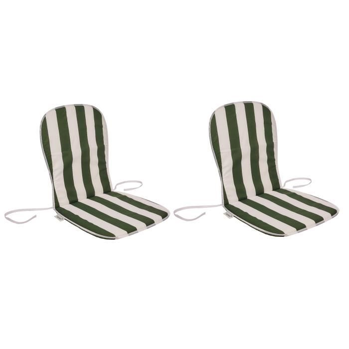 Dimensions : 80x40 cm - Coloris : vert et blanc rayé - Enveloppe : 50% coton et 50% polyesterCOUSSIN D'EXTERIEUR - COUSSIN DE BAIN DE SOLEIL - COUSSIN DE CHAISE DE JARDIN