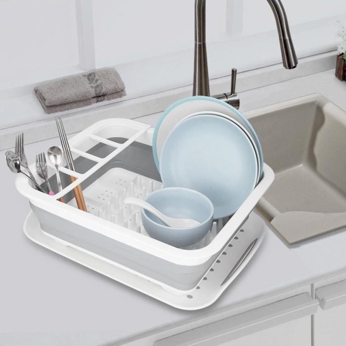 Stockage Organisant Séchage Support Vaisselle De Pliable Drain Table Cuisine L'égouttoir 5cjS4LR3Aq