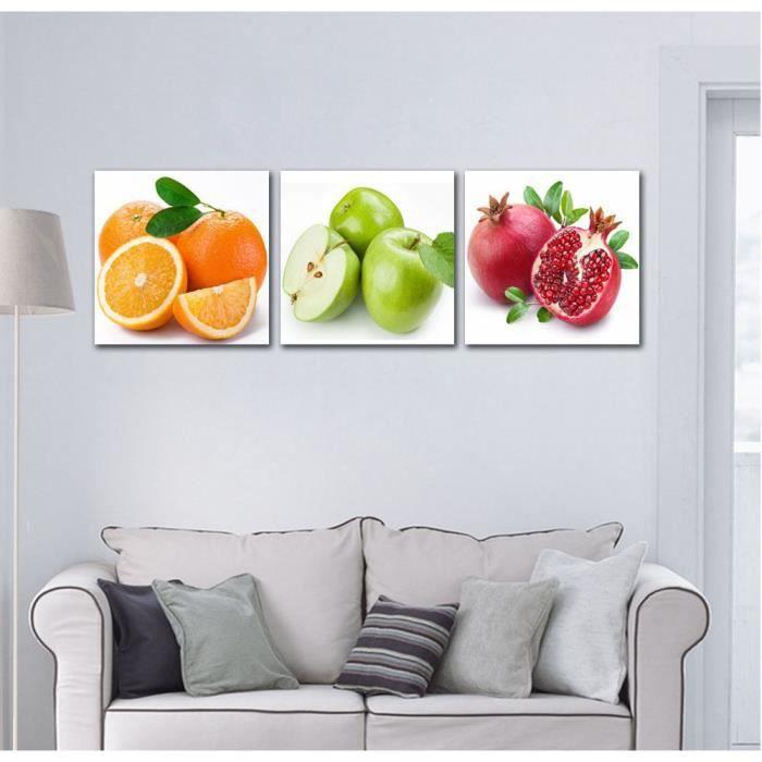 sans cadre 3 panneau fruits cuisine manger d coration murale photos apple orange grenade. Black Bedroom Furniture Sets. Home Design Ideas