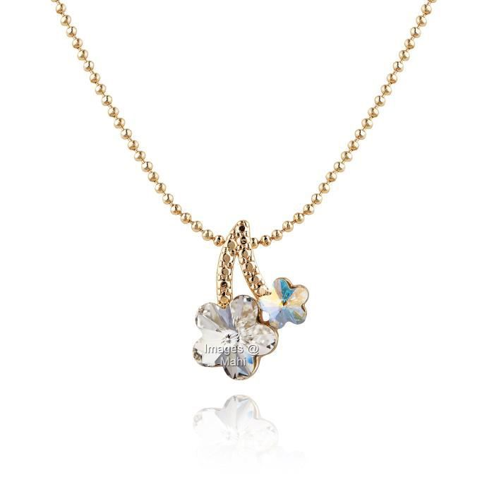 Womens Rose Gold Plated Dual Flowery Pendant With Swarovski Crystal For Nl1104320z HPLDU