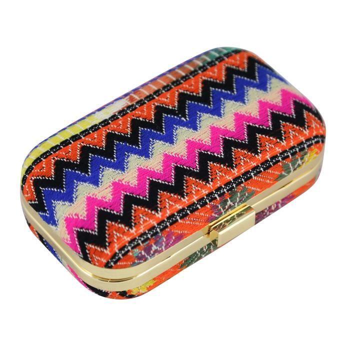 Femmes Fantaisie tissé en coton mélangé tissu boîte dembrayage - sac à main - sac à main multi couleur avec une poche et M XNKUZ