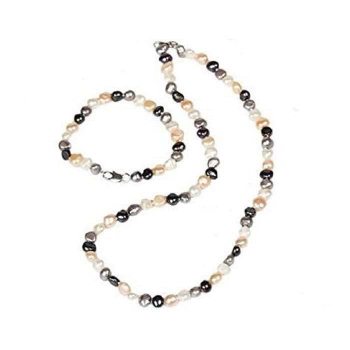 LORELYS- Cadeau damour Femmes Parure Le Charme De La Perles Deau Douce Multi Perle et Argent Fin 925/1000, Collier, Bracelet