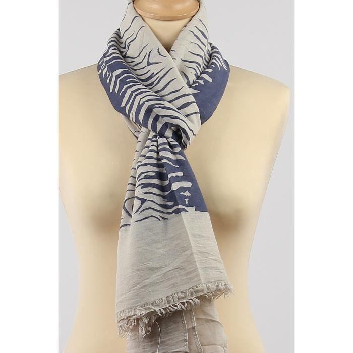 2b8ff44448e Echarpe foulard femme imprimé rayures zèbre Bleu Jean et blanc Viscose