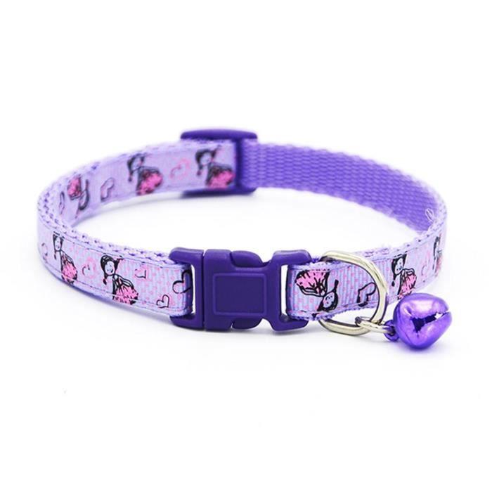 Collier De Sangle Pour Animal Compagnie Dessin Animé Mignon Chien Chiot Chat Violet