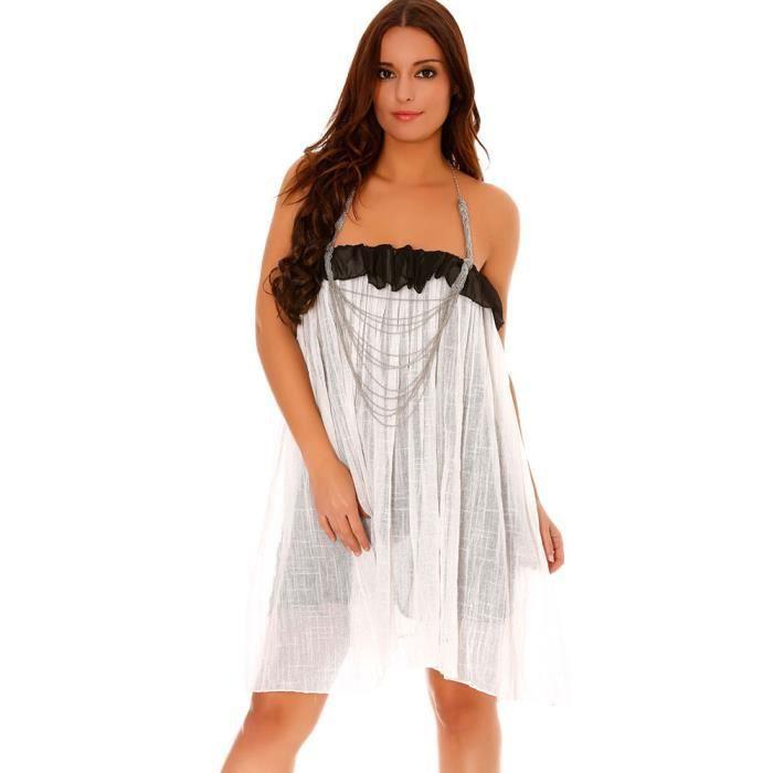 Miss Wear Line - Robe large he doublée à volants et attache collier argenté -