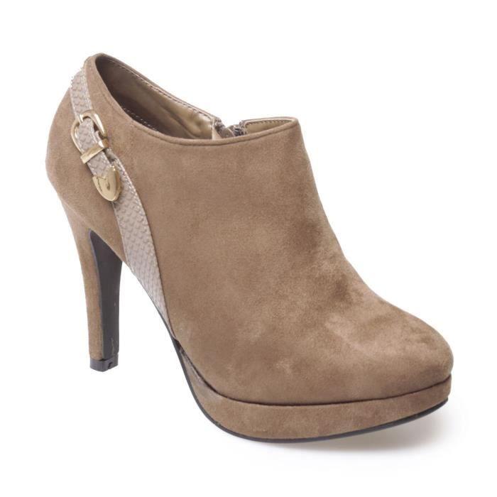 64ad264a8ea La Modeuse - Low boots aspect daim à talons fins Marron - Achat ...