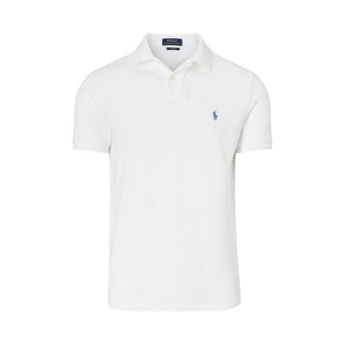 RALPH LAUREN polo blanc logo bleu clair Blanc Blanc Achat Vente