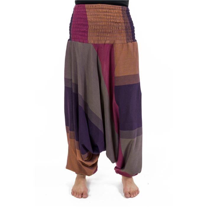 Fantazia - Sarouel femme léger - Sarouel femme ethnic chic ceinture  elastique chine violet Esthero ca47eec9e501
