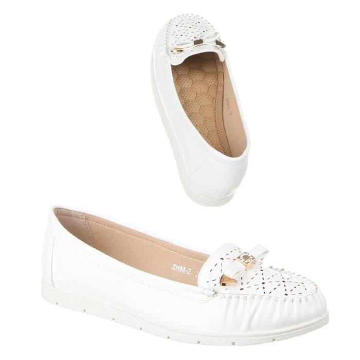 Femme chaussures mocassins Strass décoration flâneurs blanc 40 OEsx0hy1