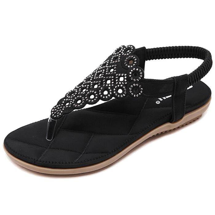 Minetom Femme Fille Eté Strass T-Strap Clip Toe Sandales Plat Plage Chaussures de Plage Arrière Élastique Tissé