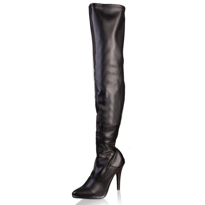 """5"""" Thigh High Leatherette Stretch Boot"""