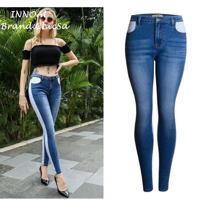 f1746d9b0 Femme Élasticité Slim Couleurs Mélangées Pantalon Crayon Européen Mode  Personnalité Style Automne Hiver Grande Taille Sexy Jeans
