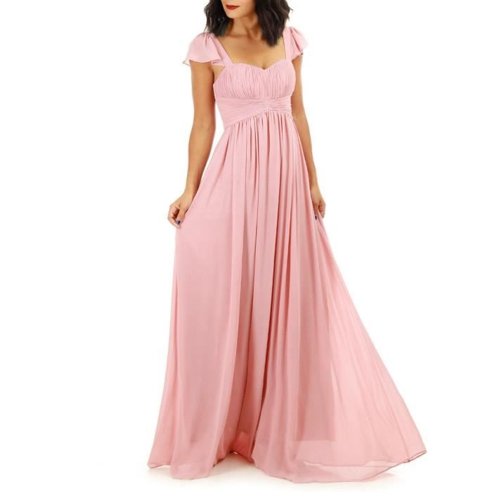f5412582d80 Robe longue rose taille empire Rose Rose - Achat   Vente robe ...