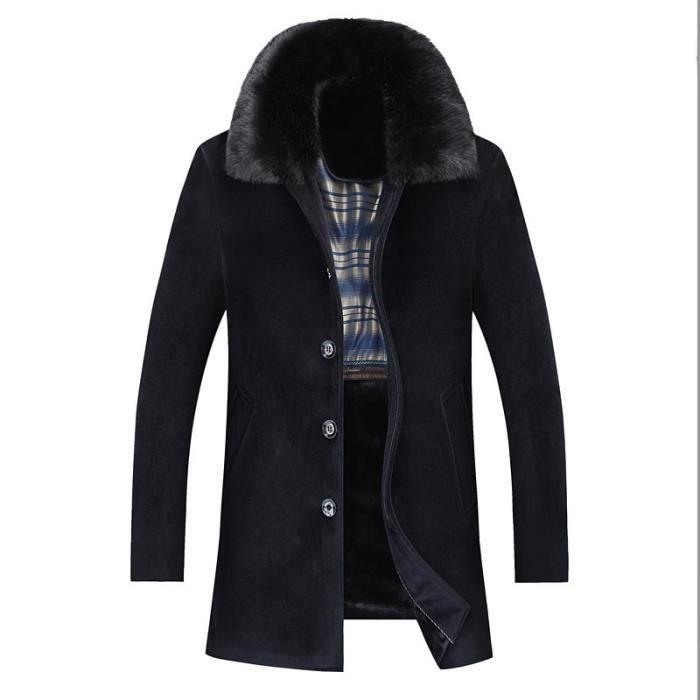 0d035d7588b3 Hugo Fashion Chaud Vêtements Fourrure Fausse Homme Hiver manteau Pardessus  Démontable Boutique Col UdOqwzC