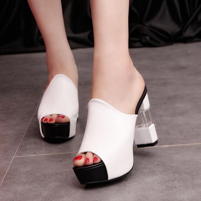 Sandales été femmemode ouvert Toe haut talon coin