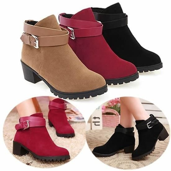 XZ636A5XZ636A5Femmes Sexy Suede Boucle Chunky Mid Bottes talon cheville
